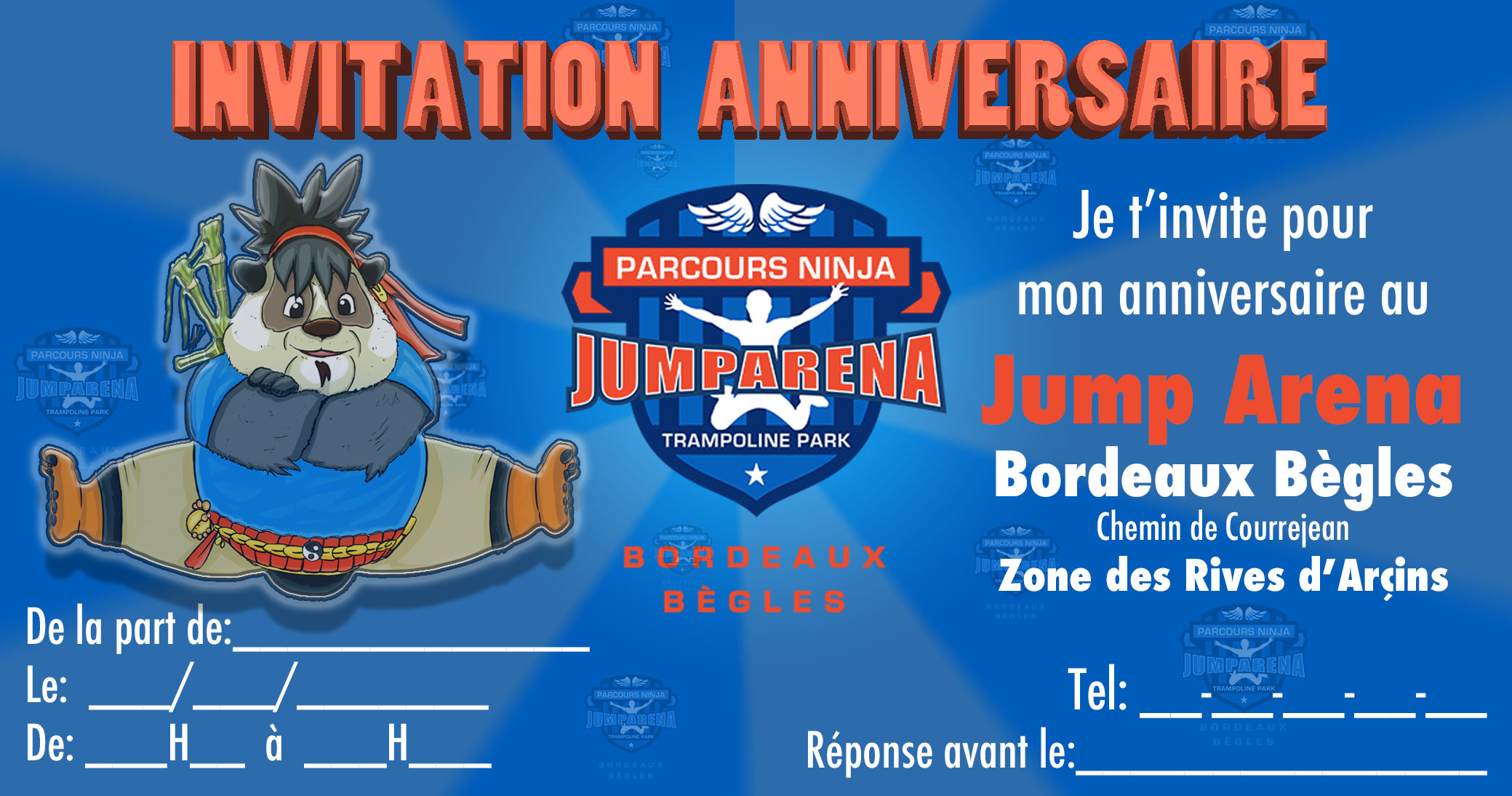 Invitation anniversaire jump arena bordeaux